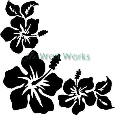 3 Hawaiian Hibiscus Flowers vinyl decal