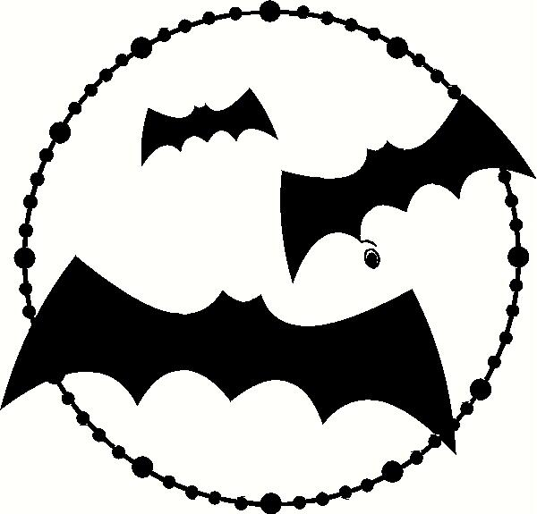 3 Bats in Moon vinyl decal