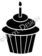 Cupcake with Candle vinyl decal