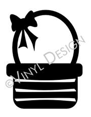 Basket with Bow vinyl decal