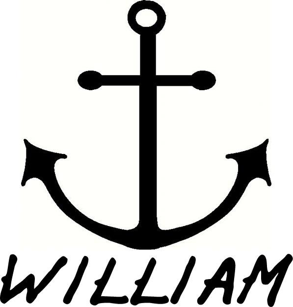 Anchor and Name vinyl decal