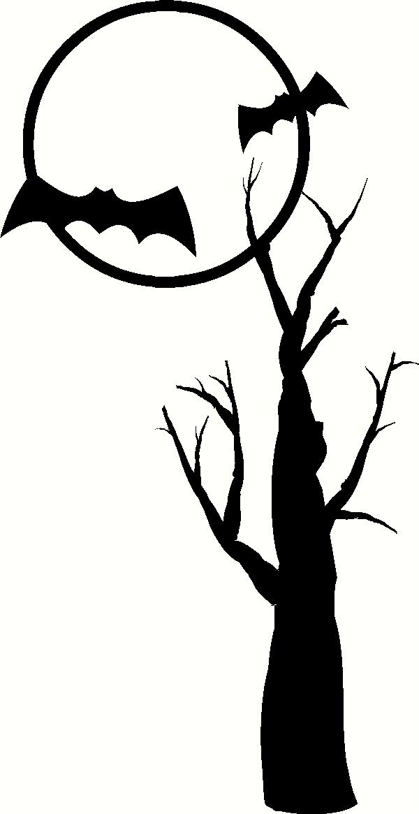 Bats in Moon With Tree vinyl decal