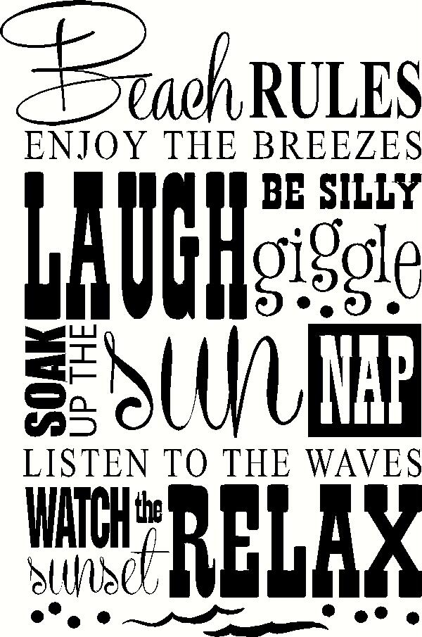 Beach Rules vinyl decal