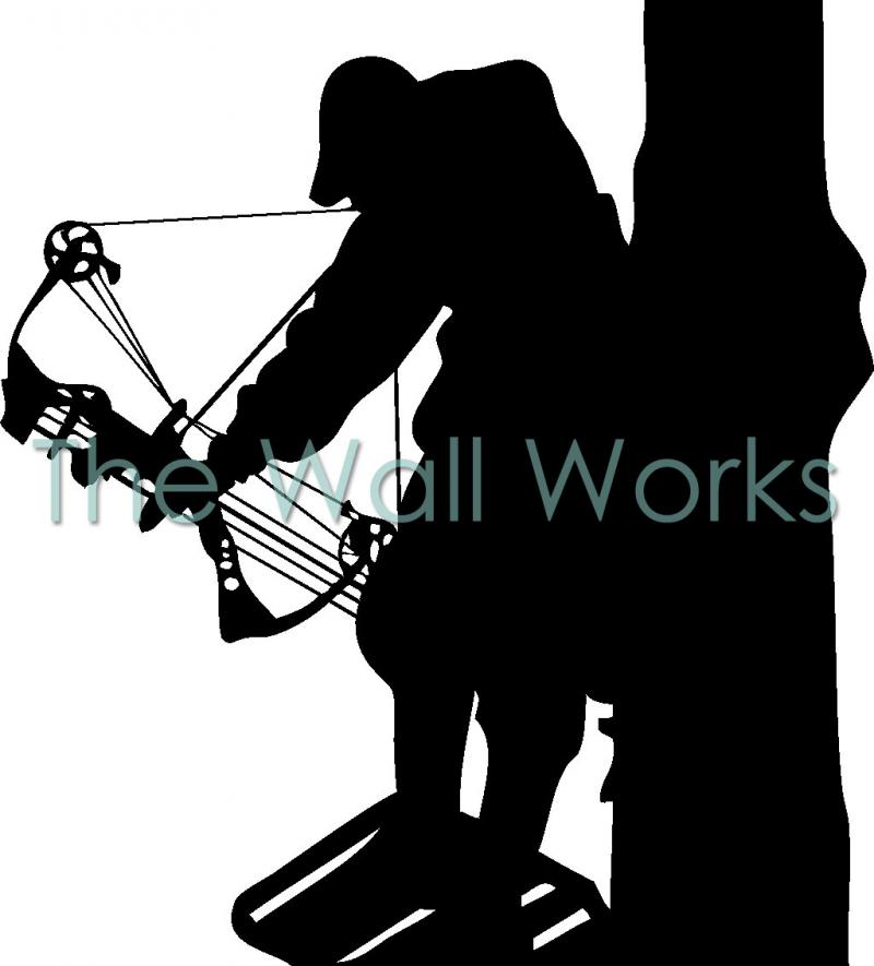 Bow Hunter in Tree vinyl decal