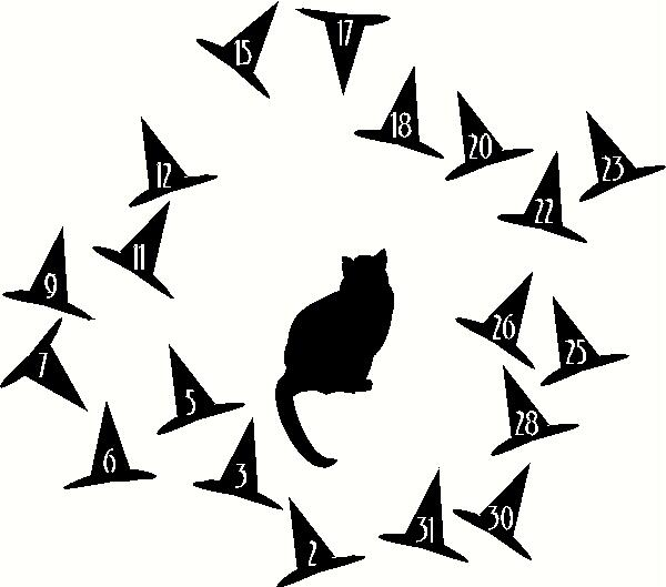 Cat with Witch Hat Numbers vinyl decal