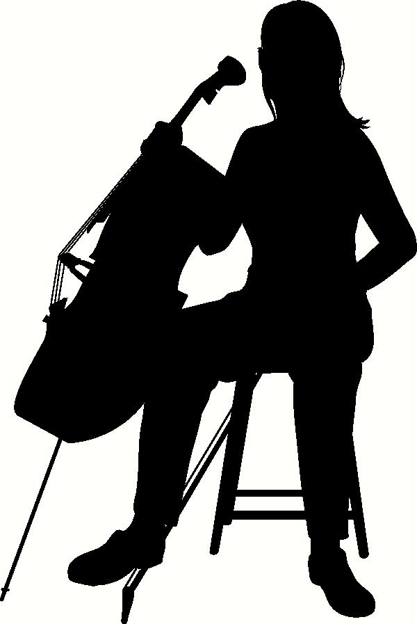 Cello Player Silhouette vinyl decal