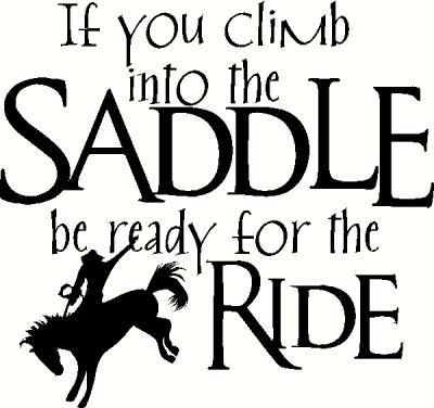 Climb into the Saddle vinyl decal