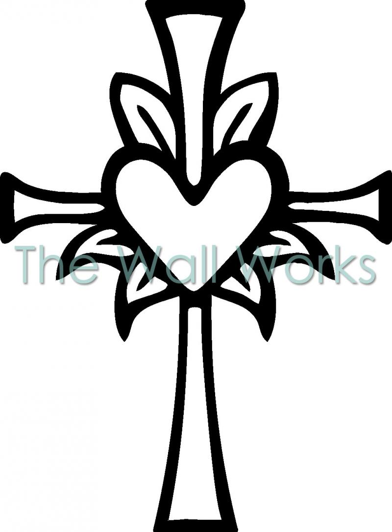 Cross heart coloring page - Religious Cross With Heart Decal