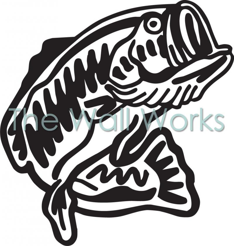 Large mouth bass wall sticker vinyl decal the wall works for Bass fishing decals