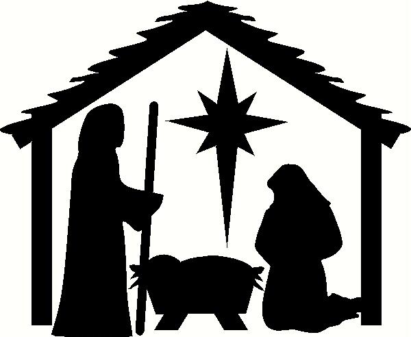 Nativity Stable With People Vinyl Decal | Christmas Vinyl Decals