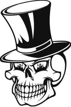 Skull with Tophat vinyl decal