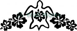 Turtle Flowers (2) vinyl decal