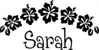 Hawaiian Flowers and Name vinyl decal