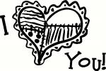 I Love You with Heart vinyl decal