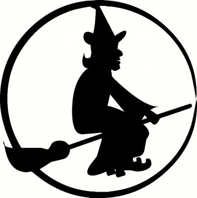Witch on Broom vinyl decal